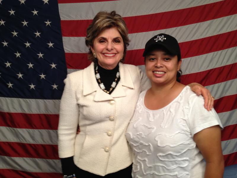 Gina M. Garcia on set With Actor Gloria Allred (Renowned Civil Rights Attorney)